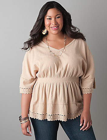 Gauze handkerchief top by Lane Bryant