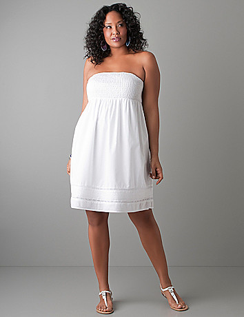 Smocked strapless dress by Lane Bryant