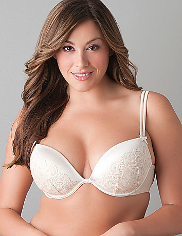Lace overlay plunge bra by Cacique