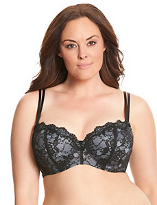 Lace overlay balconette bra