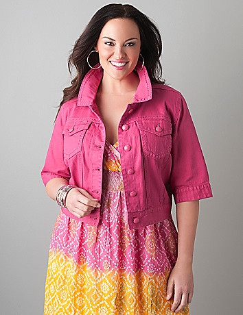 Colored denim cropped jacket by Lane Bryant