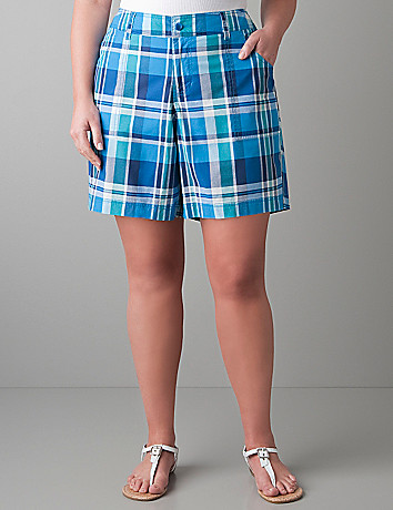 Womens full figure Plaid shorts by Lane Bryant