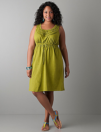 Ruffled scoop neck dress by Lane Bryant