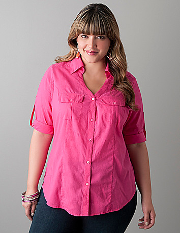 Rolled sleeve camp shirt by Lane Bryant
