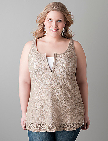 Plus sized Lace front tank by Lane Bryant