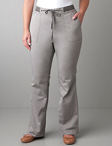 Knit waistband twill pant by Lane Bryant