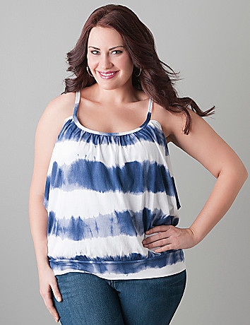 Tie dye banded bottom tank by Lane Bryant