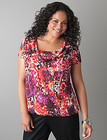 Draped Neck Print Mesh Top by Lane Bryant