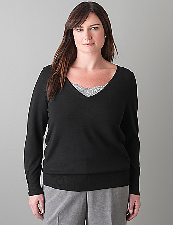 V-neck pullover sweater by Lane Bryant