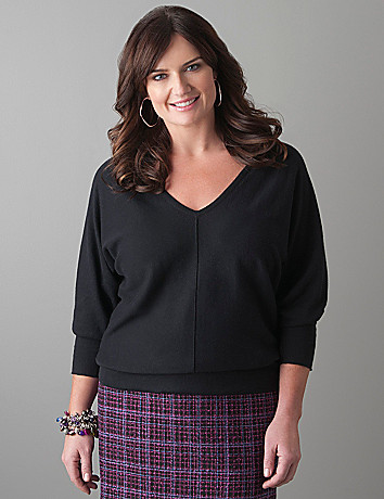 Plus Size V-neck Dolman Sweater by Lane Bryant