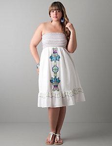 Full figure Embroidered strapless dress by Lane Bryant