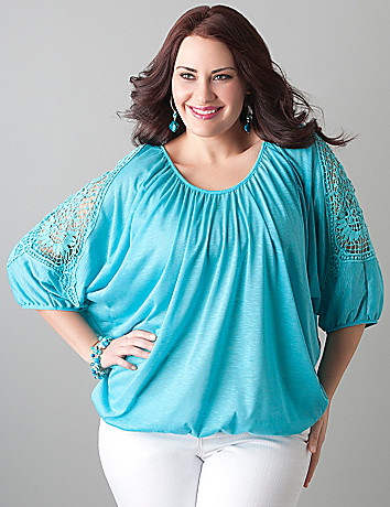 Crochet dolman top by Lane Bryant