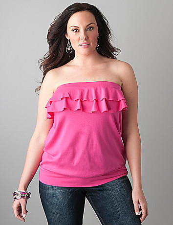Ruffled banded bottom tube top by Lane Bryant