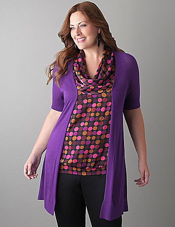 Short sleeve long cardigan by Lane Bryant