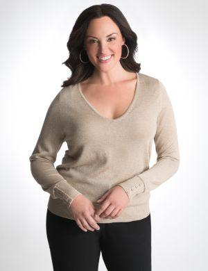 V-neck sparkle sweater