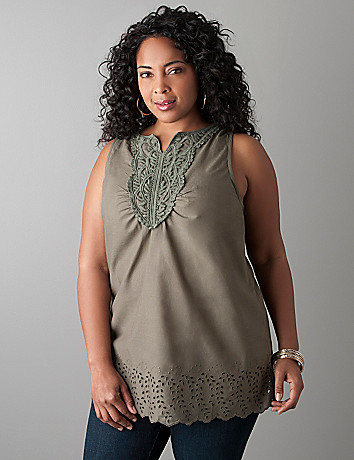 Plus size Crochet trim tank  by Lane Bryant