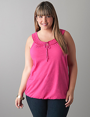 Smocked neck tank by Lane Bryant