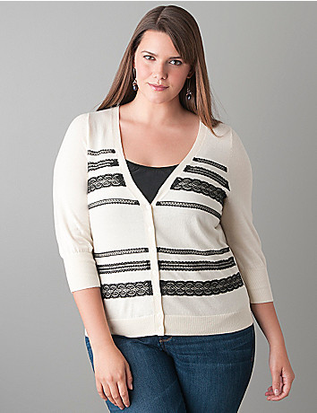 Lace embellished cardigan by Lane Bryant