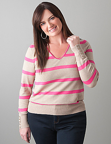 Striped pullover sweater by Lane Bryant