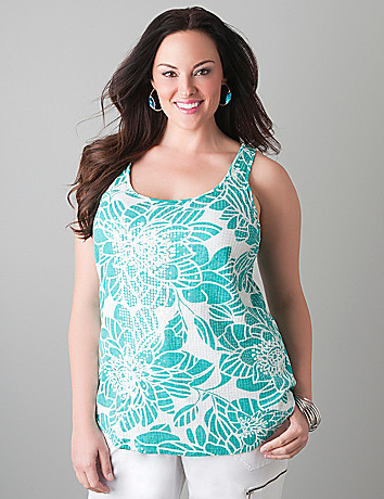 Sequin front floral tank by Lane Bryant