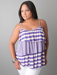 Mixed stripe tiered tank by Lane Bryant