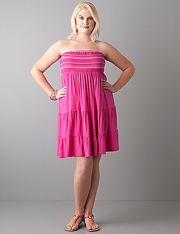 Stitch accent smocked tube dress by Lane Bryant