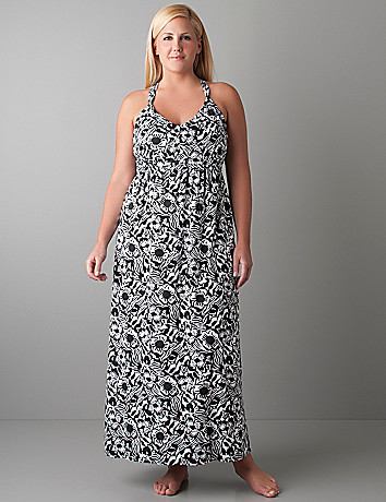 African floral maxi dress by Cacique