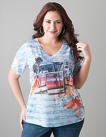 Postcard print slub tee by Lane Bryant