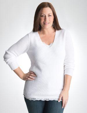 Shimmering textured V-neck sweater