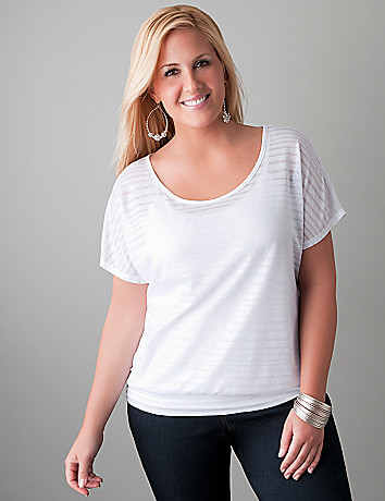 Sheer stripe top by Lane Bryant