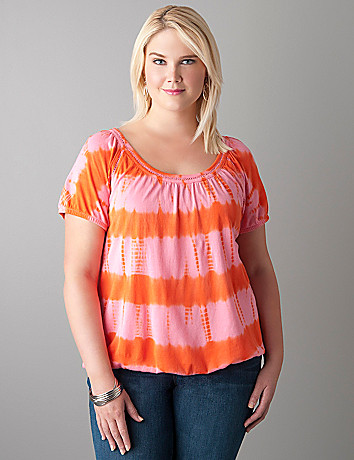 Tie dye crochet trim top by Lane Bryant