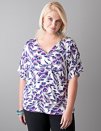 Floral surplice dolman top by Lane Bryant
