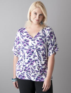 Floral surplice dolman top