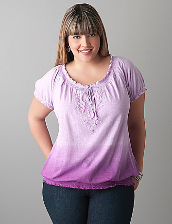 Embellished peasant tee by Lane Bryant
