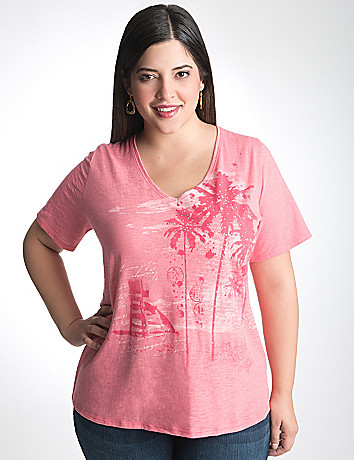 Palm print burnout tee by Lane Bryant