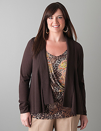 Draped open cardigan by Lane Bryant
