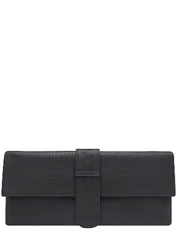 Faux snake clutch handbag by Lane Bryant