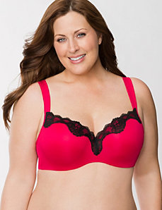 Lace trim smooth balconette bra by LANE BRYANT