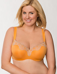 Lace trim smooth balconette bra