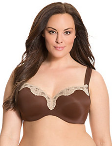 Lace trim smooth balconette bra by Cacique