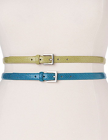 Full figure Patent croc skinny belt duo by Lane Bryant