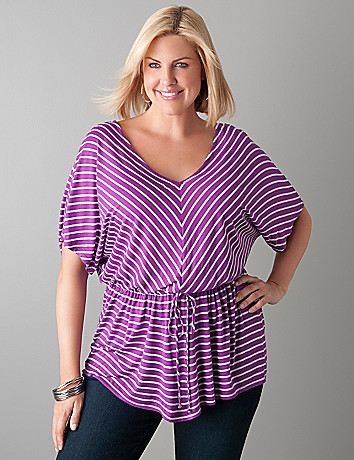 Chevron stripe peplum tunic by Lane Bryant