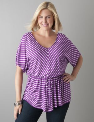 Chevron stripe peplum tunic