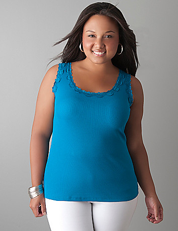 Lace trim ribbed tank by Lane Bryant