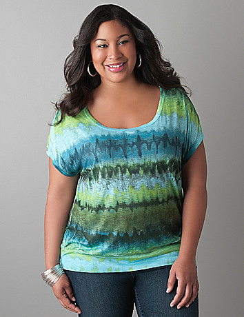 Rainbow print banded bottom tee by Lane Bryant