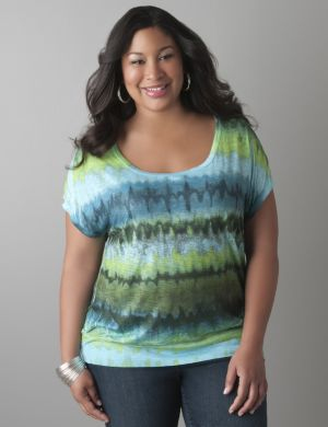 Rainbow print banded bottom tee