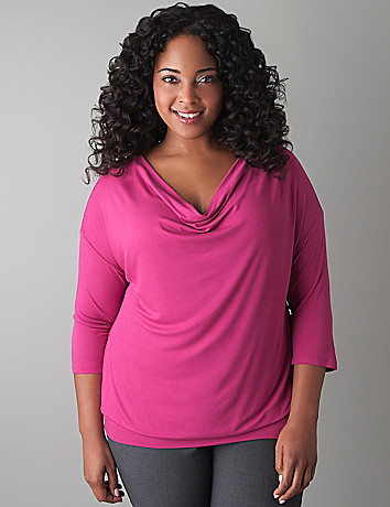 Draped neck top by Lane Bryant