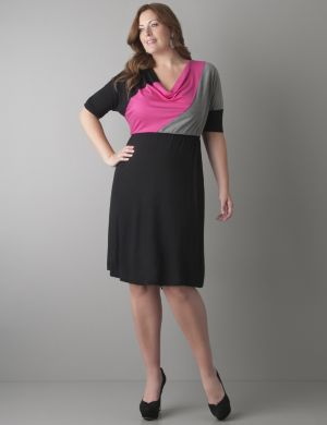 Elbow sleeve colorblock dress