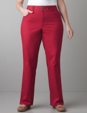 Colored straight leg jean with Tighter Tummy Technology