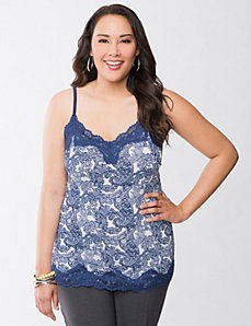 Printed Essential lace trim cami